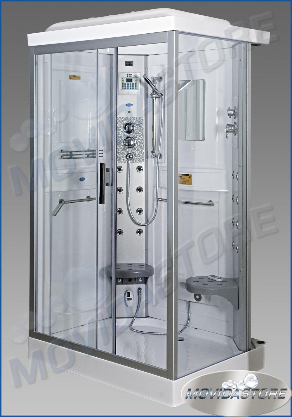 Box cabina doccia idromassaggio bagno rettangolare sauna for Cabina doccia eklis montaggio