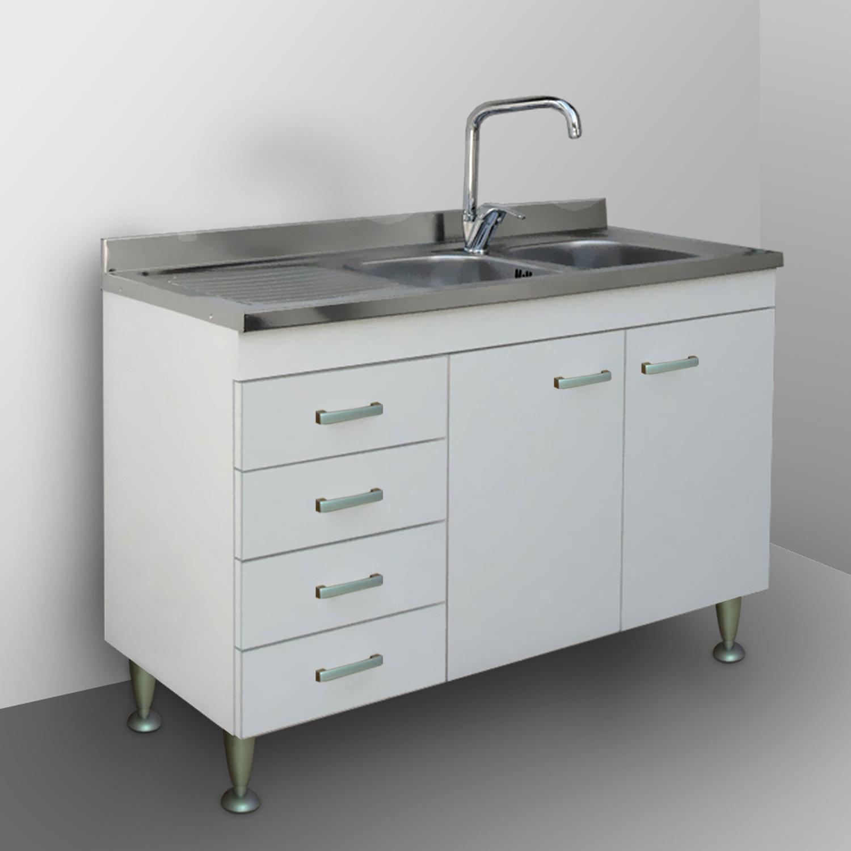 Mobile Con Lavello Cucina.Mobile Kitchen Modular 120 White Sink Undercounter Garden Drainer Ebay