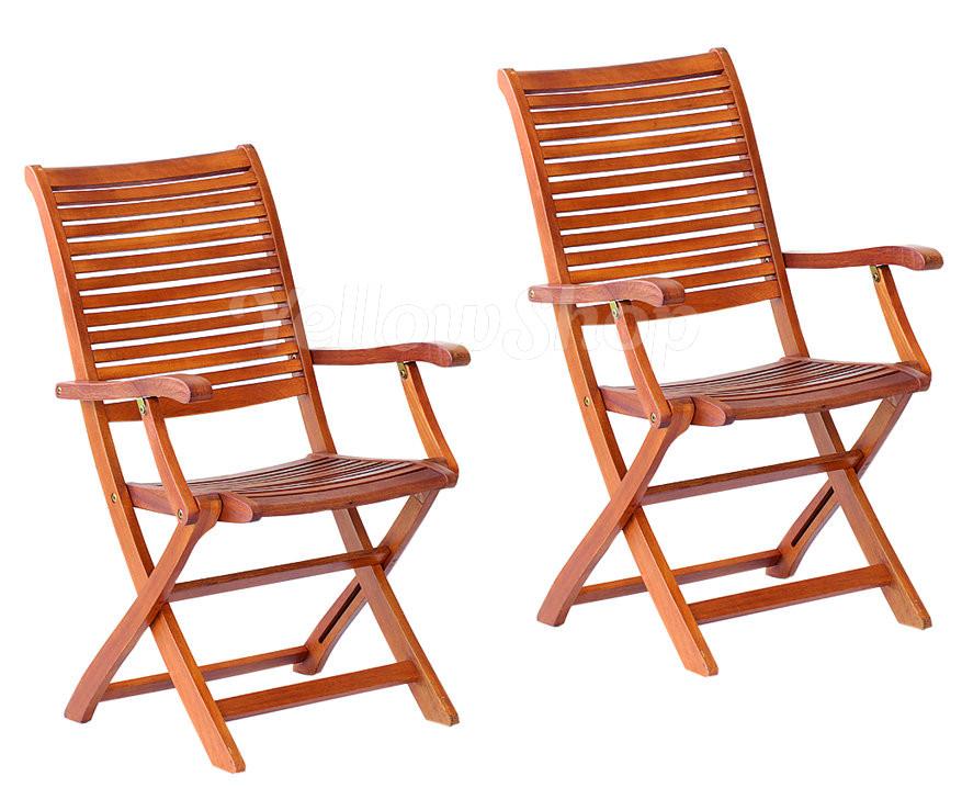 Set 2 coppia sedia sedie legno poltrona giardino esterno for Sedie richiudibili