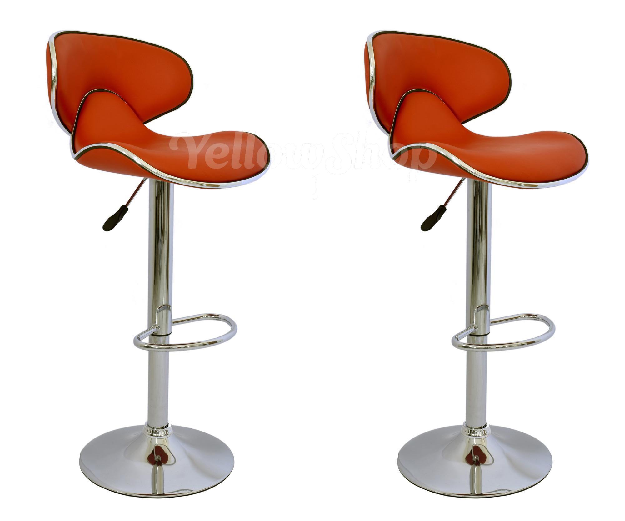 Coppia sgabelli ecopelle sgabello rosso cromo ergonomico bar