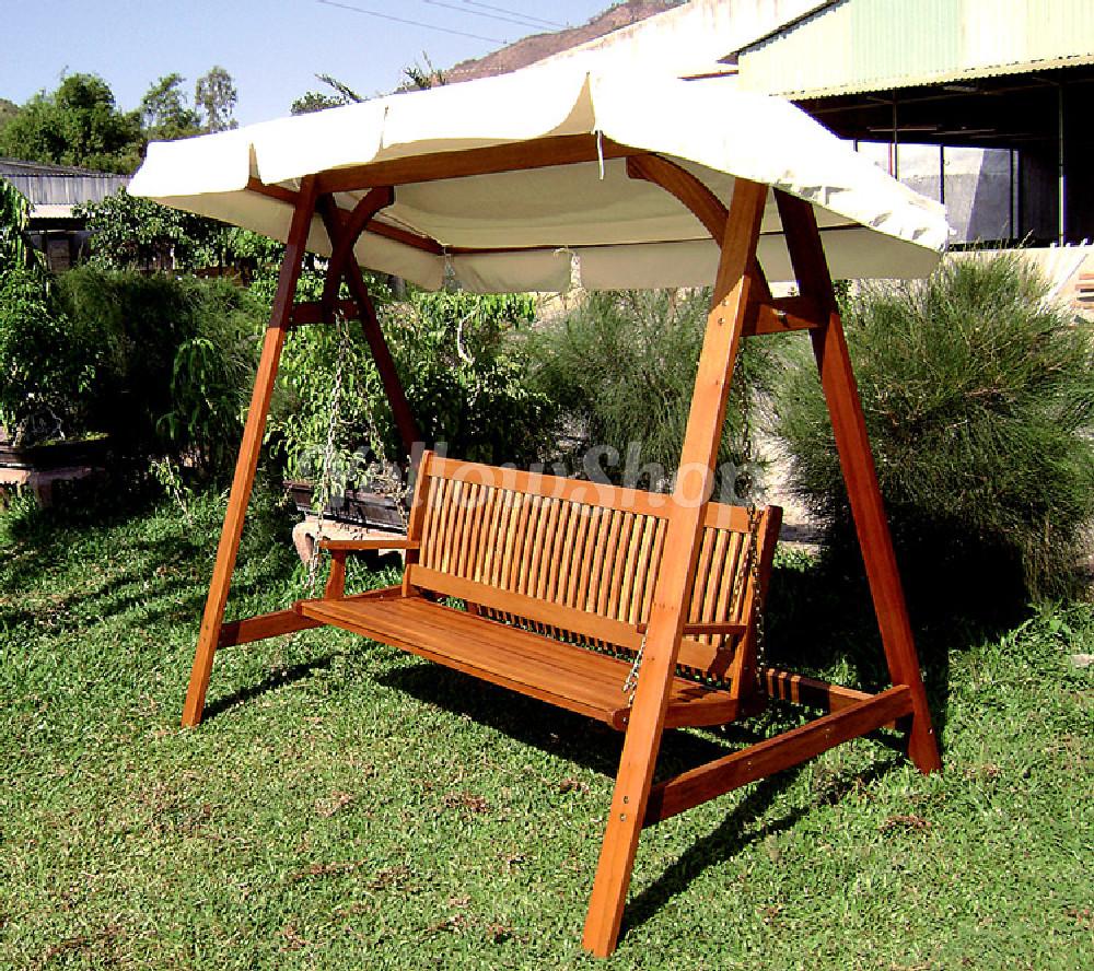 Dondolo legno arredo giardino 3 posti esterno con tetto for Arredo giardino legno