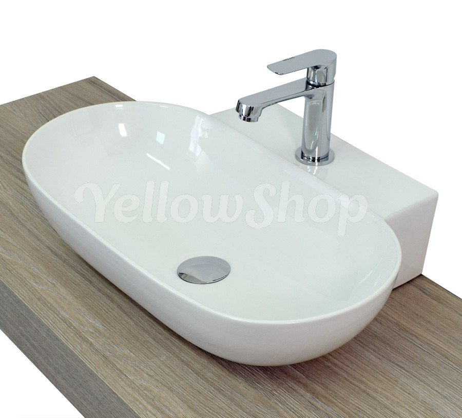 lavabo cm 56 x 40 da appoggio ceramica lavandino lavello sanitari bagno ebay. Black Bedroom Furniture Sets. Home Design Ideas