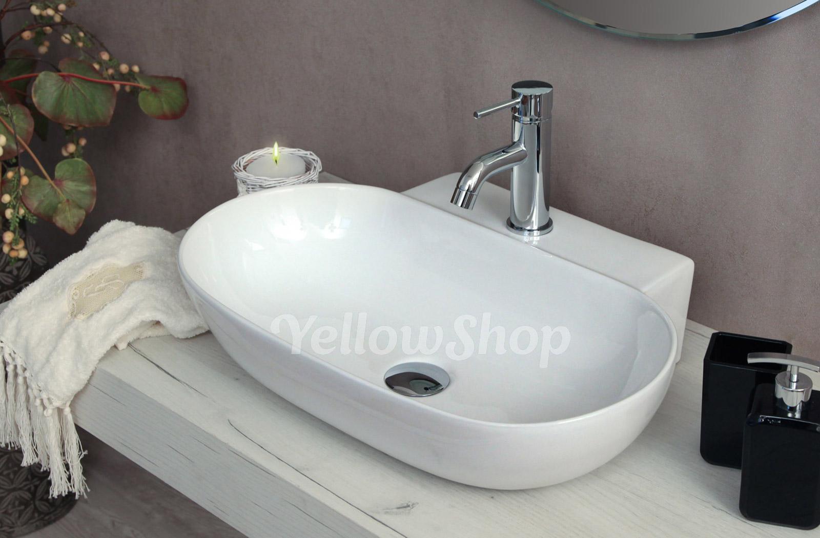 Lavello Cucina In Porcellana dettagli su lavabo cm 57x40 appoggio sospeso ceramica lavandino lavello  sanitari bagno swing