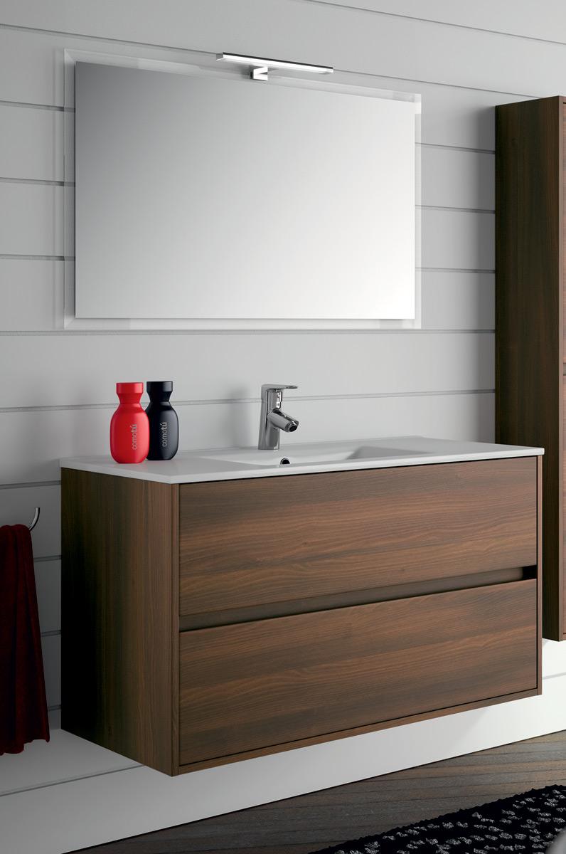 Arredo bagno mobile sospeso legno 100 specchiera lavabo porcellana lampada led ebay - Mobile bagno usato ebay ...
