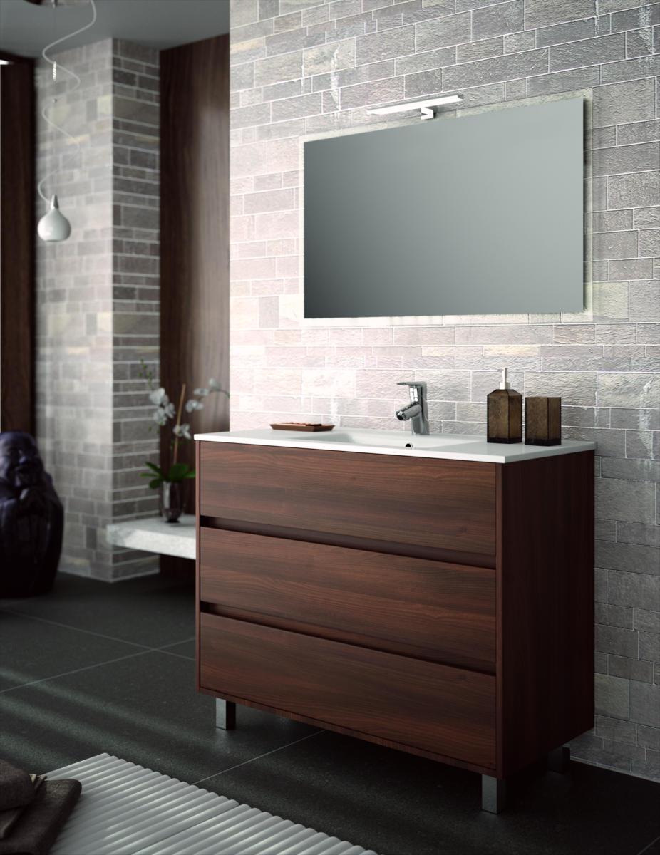Arredo bagno mobile 100 moderno legno lavabo ceramica specchiera lampada design ebay - Lavabo cucina moderno ...