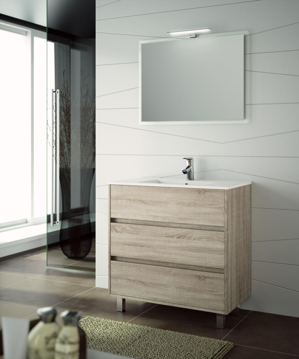 Arredo bagno mobile moderno legno 80 specchiera lavabo for Lampade bagno design