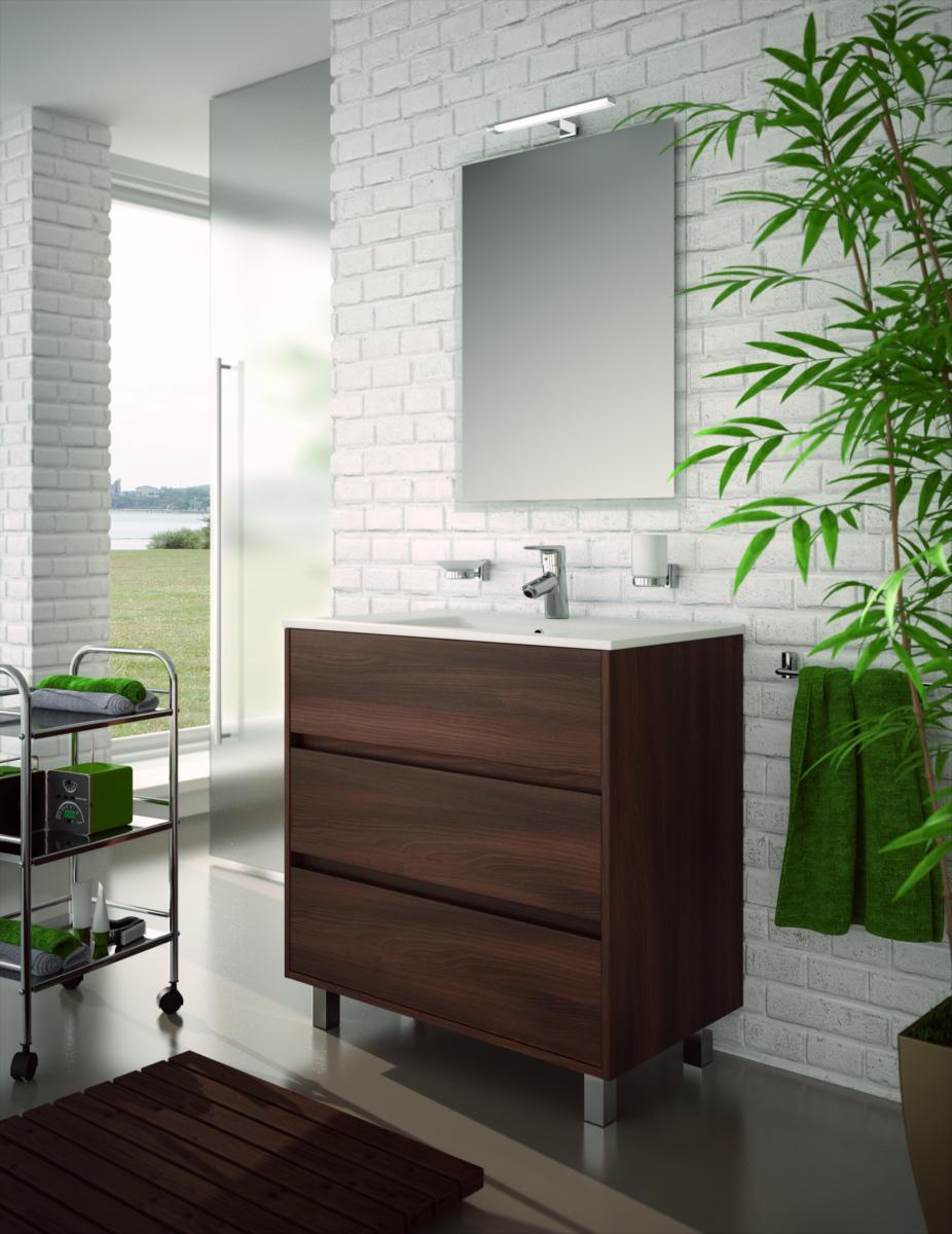 Arredo bagno mobile moderno legno 80 specchiera lavabo ceramica lampada design ebay - Salgar mobili bagno ...