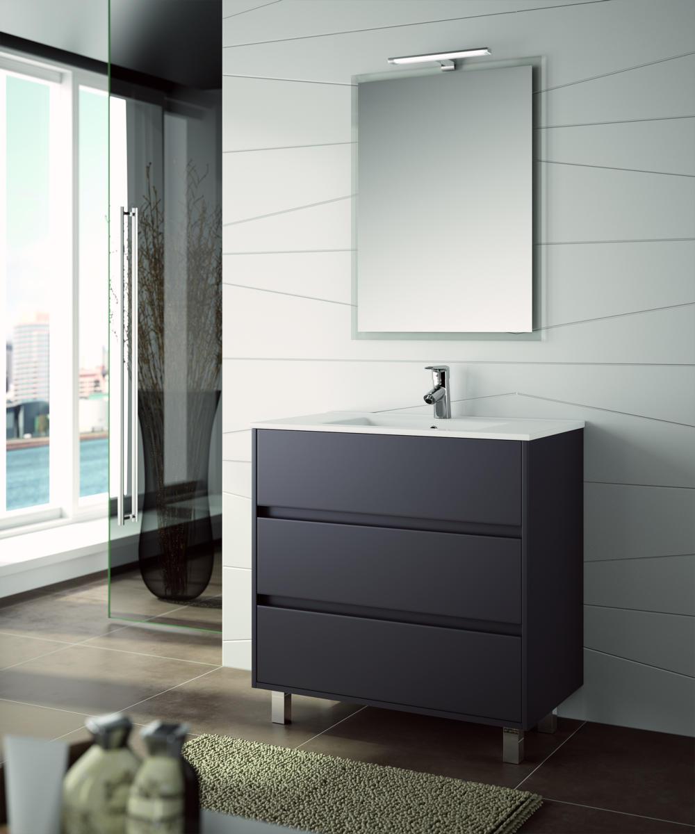 Arredo bagno mobile moderno legno 80 specchiera lavabo ceramica lampada design ebay - Lavabo cucina moderno ...