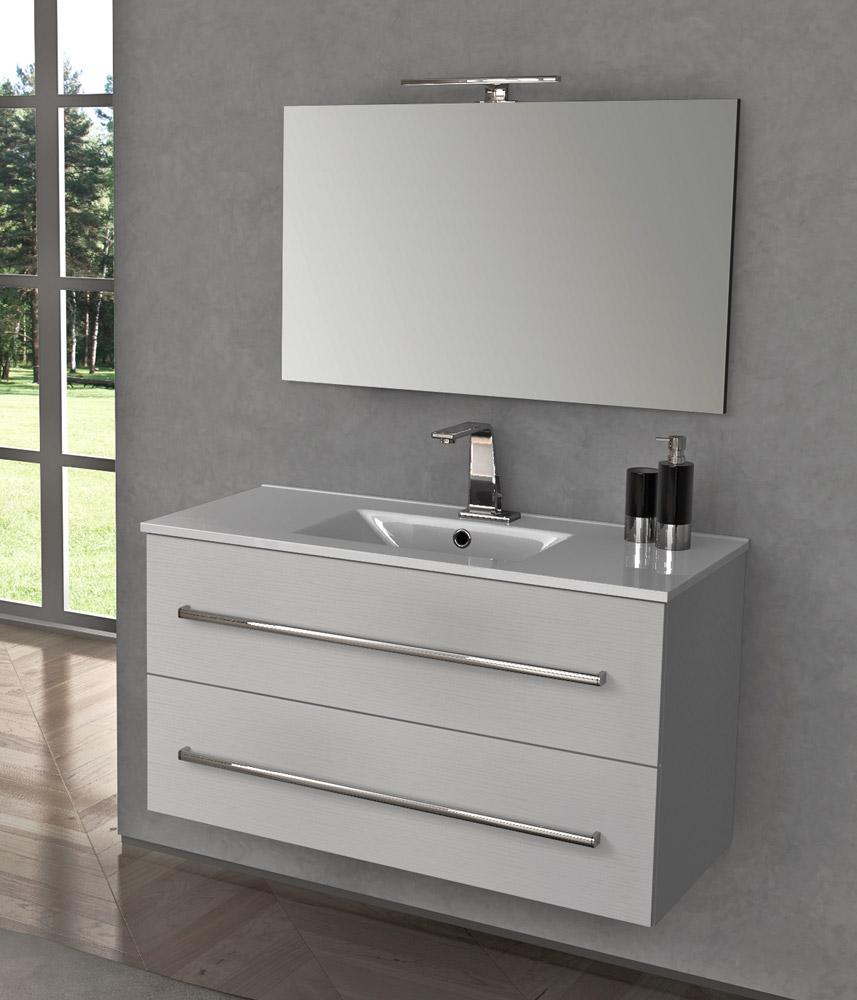 Arredo bagno mobile sospeso legno 100 lavabo e specchiera led moderno ginevra ebay - Lavabo cucina moderno ...