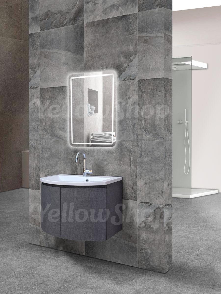 Mobile bagno curvo sospeso con lavabo e specchio led moderno cm 70 grigio scuro ebay - Mobile bagno curvo ...