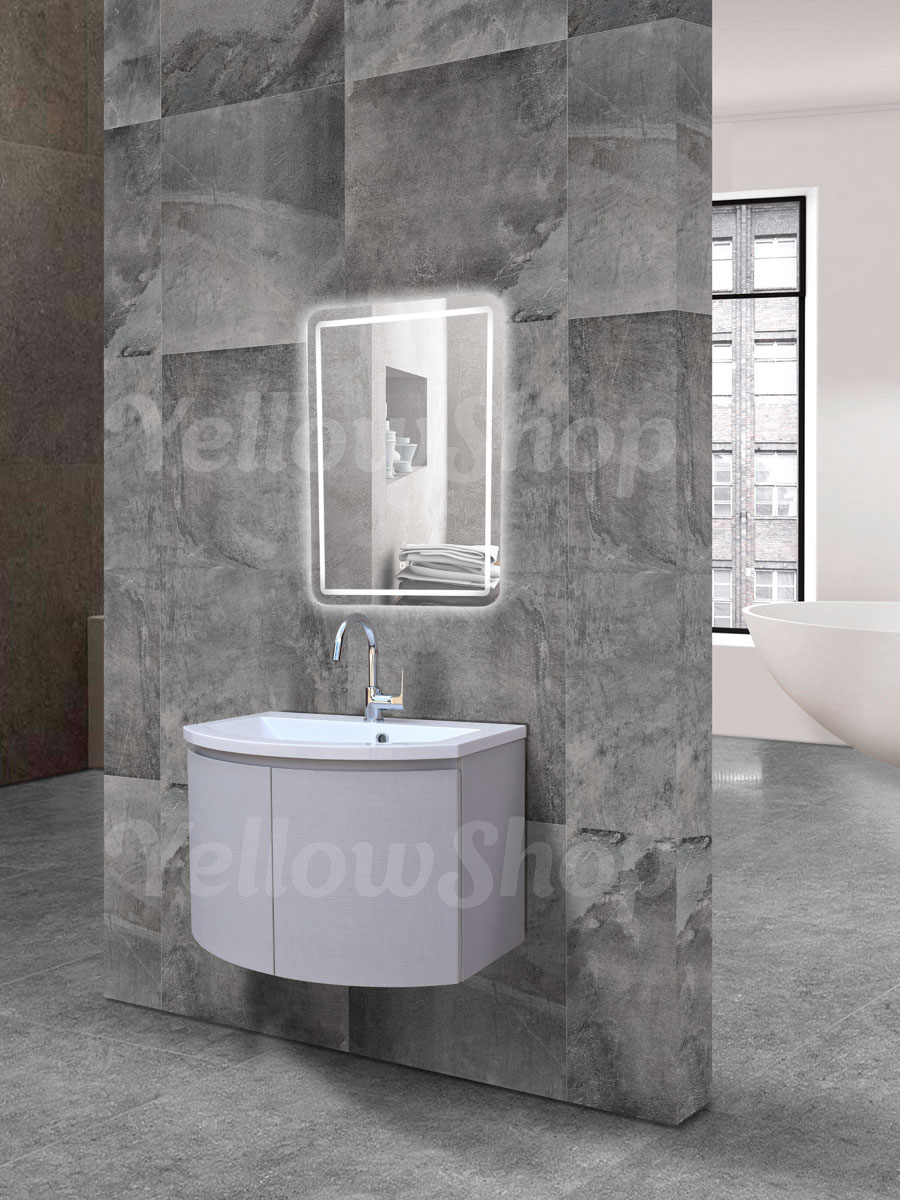 Mobile bagno curvo sospeso con lavabo e specchio led moderno cm 70 grigio chiaro ebay - Mobile bagno curvo ...