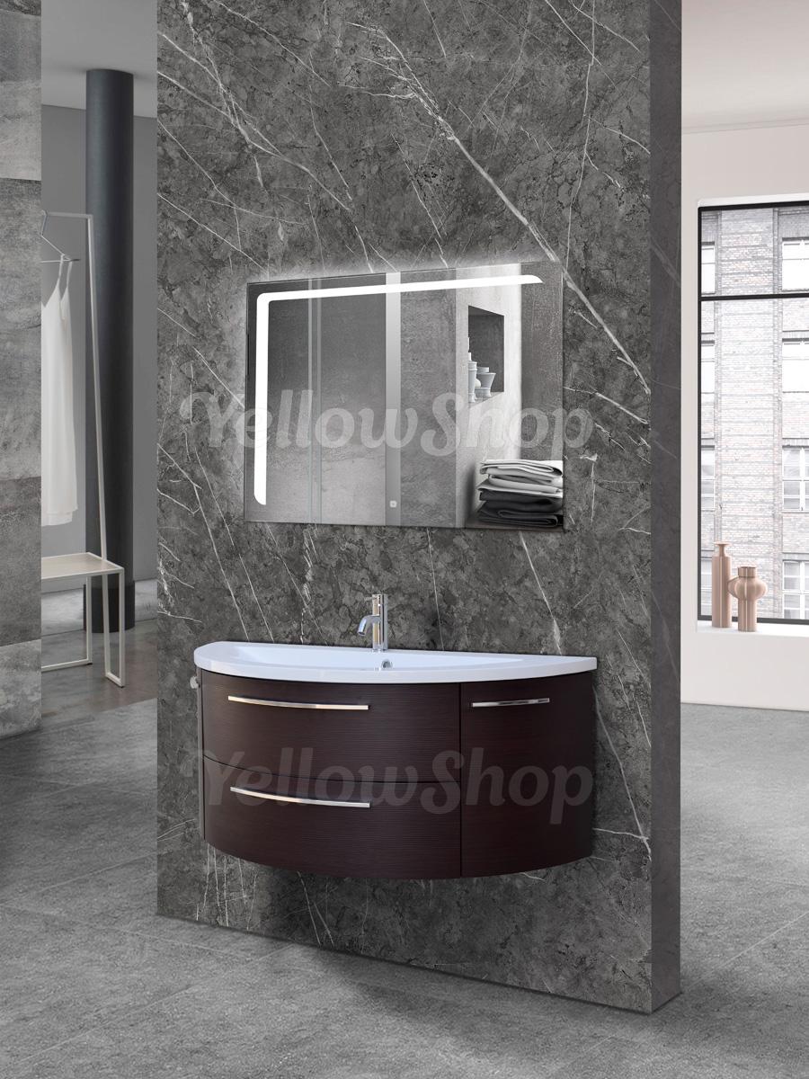 Mobile bagno curvo sospeso con lavabo e specchio led moderno cm 120 wenge poker ebay - Mobile bagno curvo ...