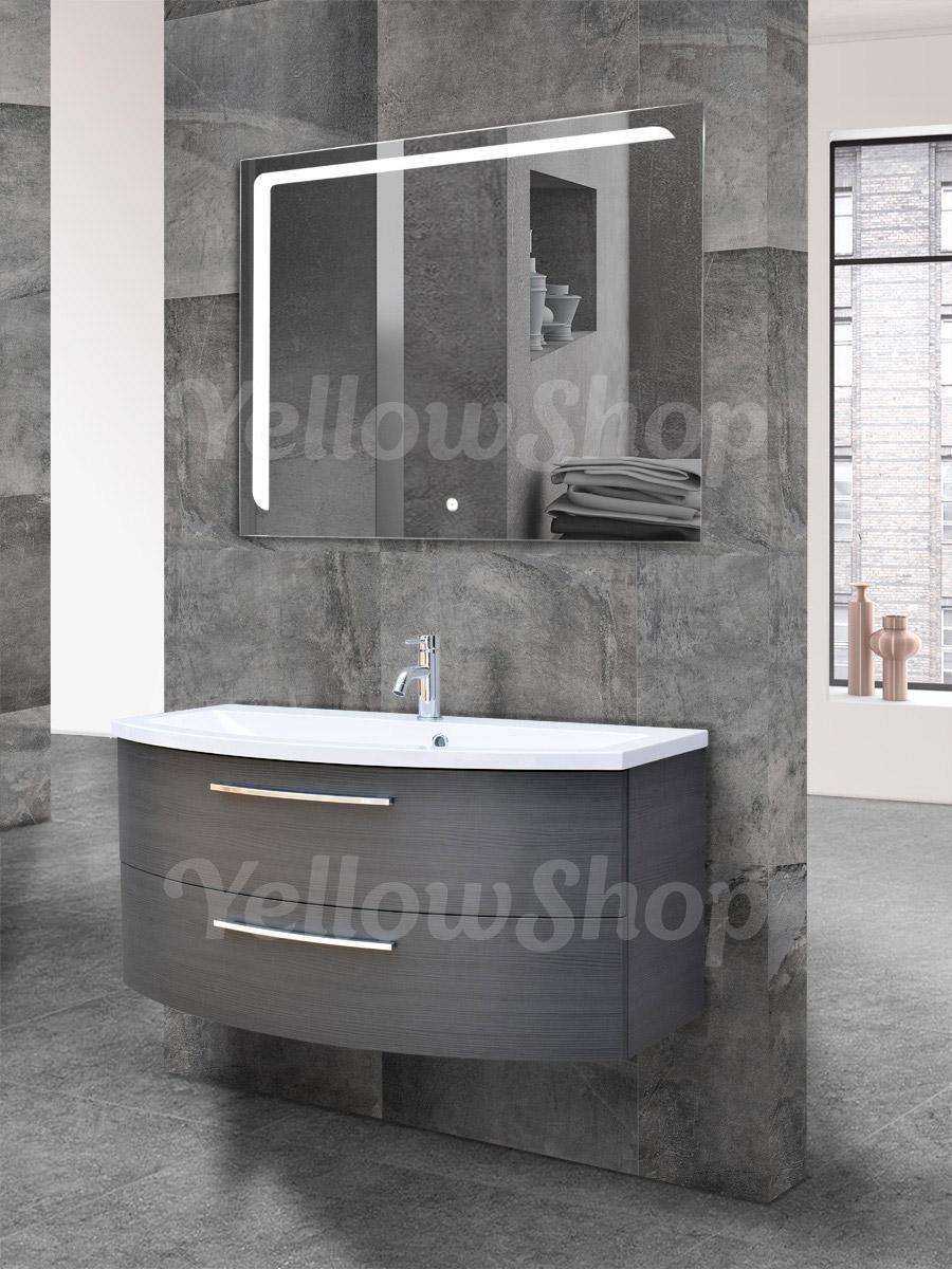 Mobile bagno curvo sospeso con lavabo e specchio led - Mobile bagno curvo ...