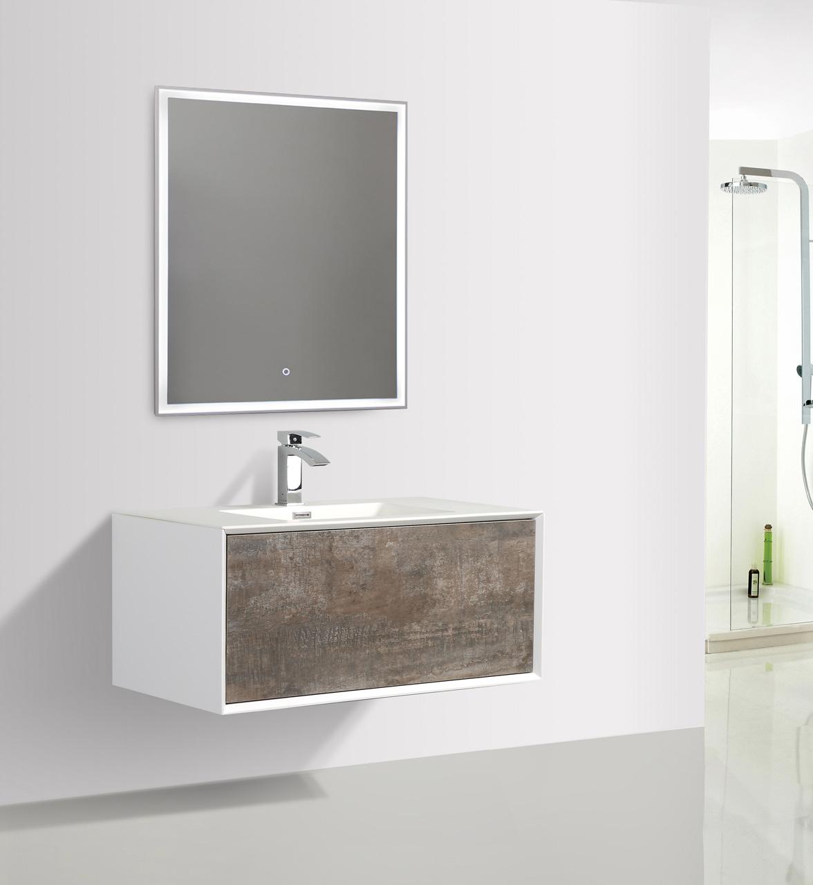 Lavandino E Mobile Bagno.Dettagli Su Mobile Bagno Sospeso 90 Legno Bianco Stone Cemento Con Lavabo Specchio Led Griff
