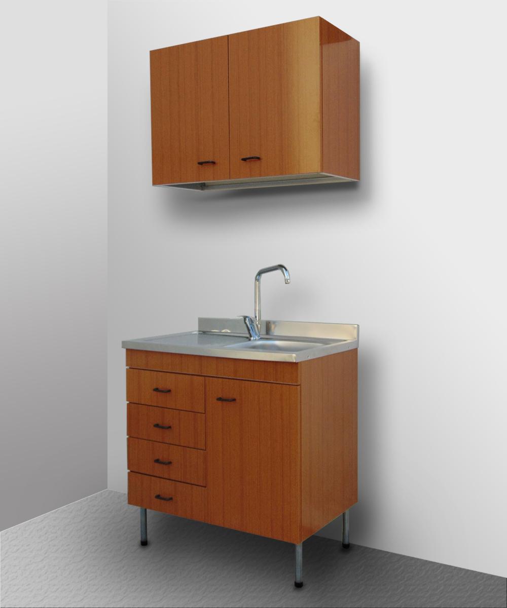 Mobile Per Lavabo Cucina dettagli su mobile cucina componibile lavello inox sottolavello pensile  base 80 50 cubo teak