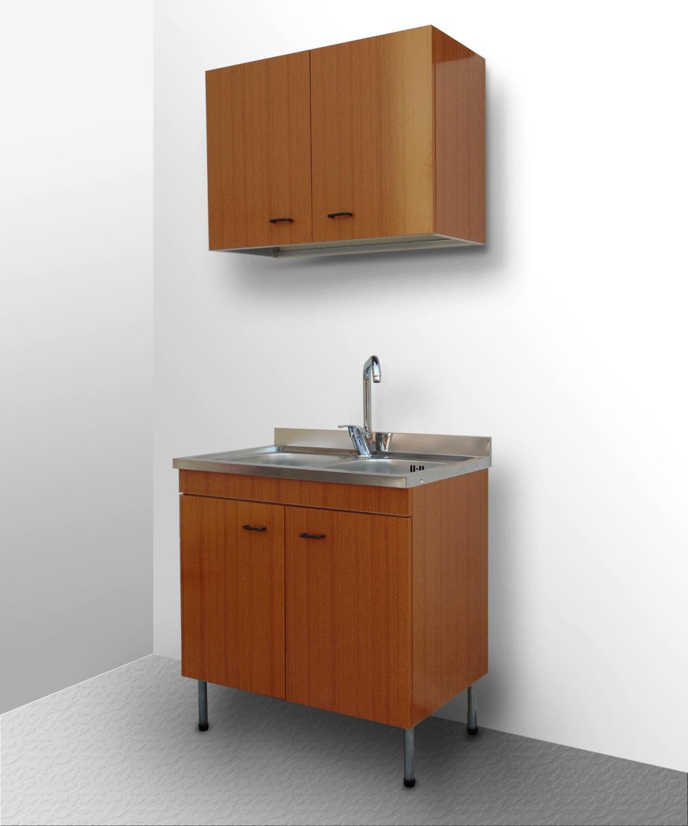 Mobile cucina lavello inox componibile sottolavello cubo pensile base 80 50 teak ebay - Lavello e sottolavello cucina ...