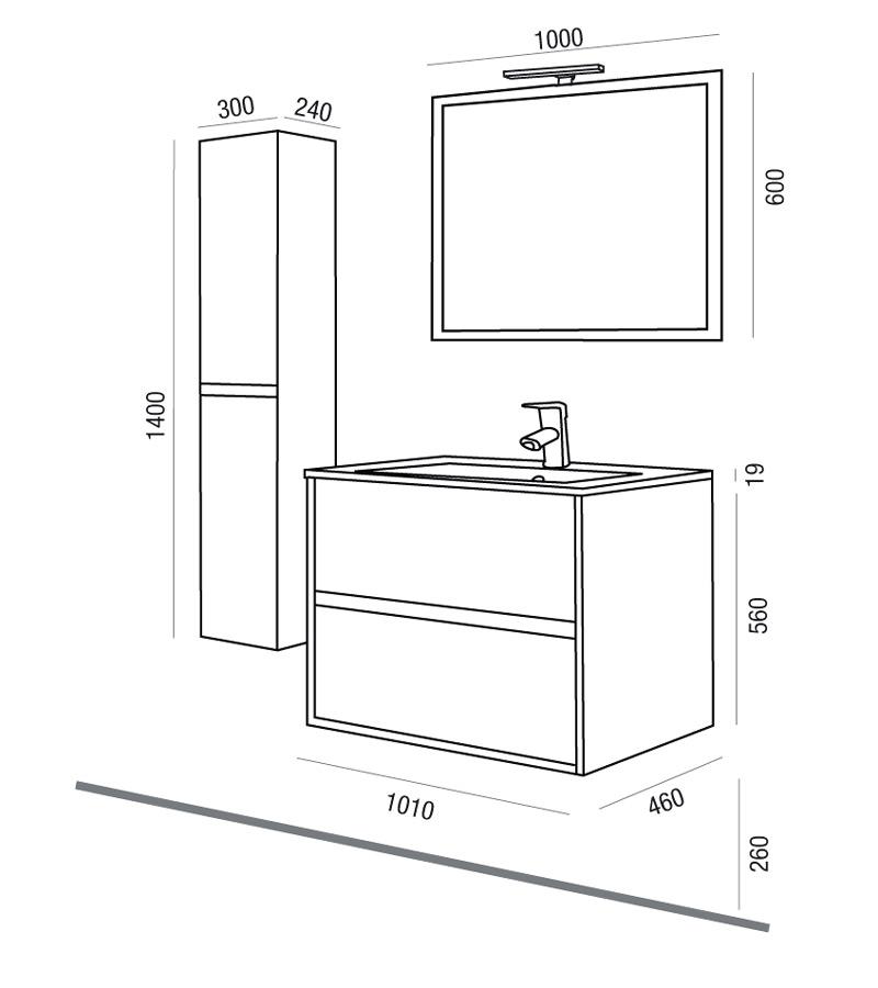 Arredo bagno mobile sospeso moderno legno 100 lavabo for Misure mobili bagno