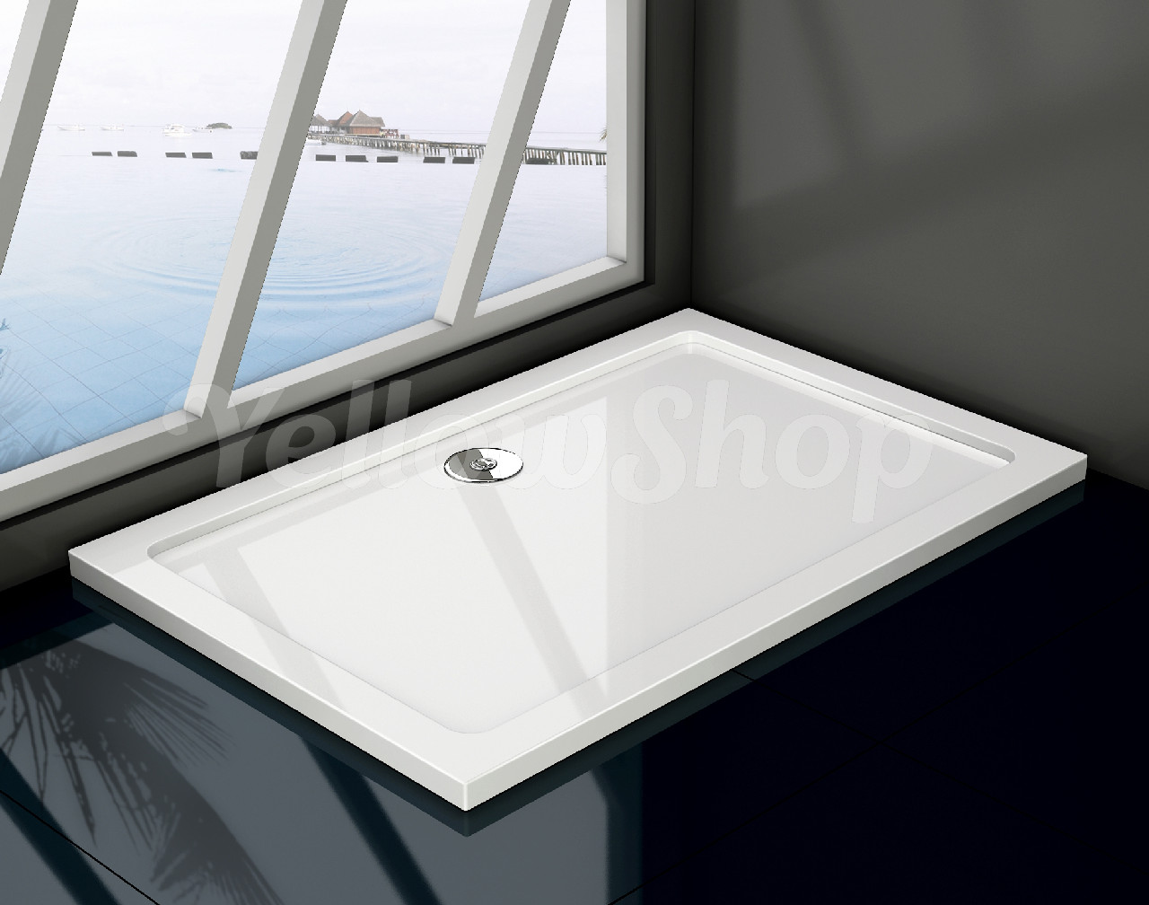 Piatto doccia resina massa piena slim sottile bianco rettangolare