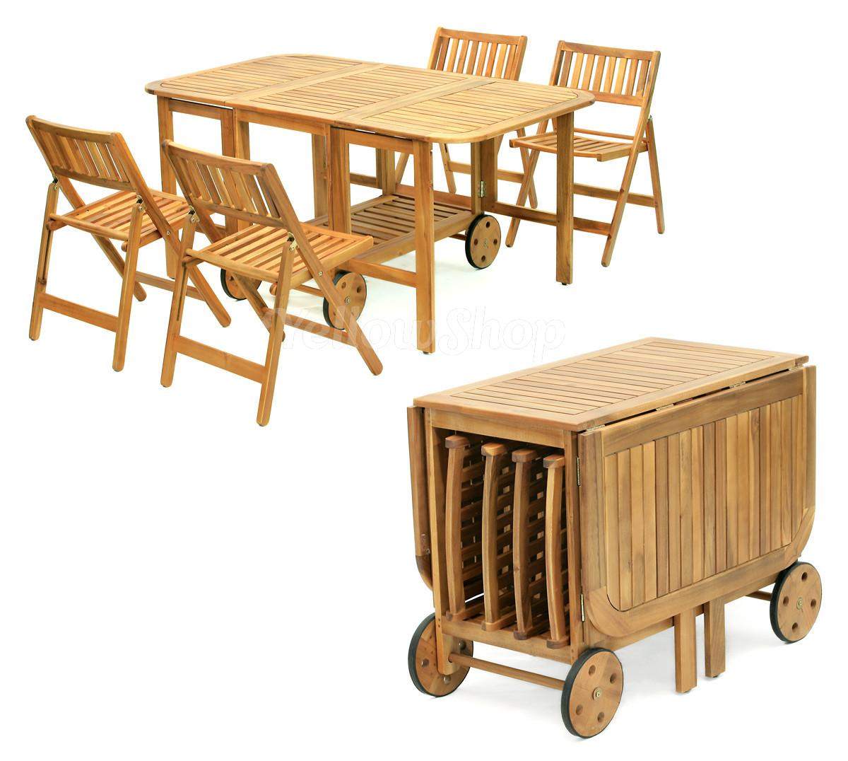 Set tavolo pieghievole legno con 4 sedie giardino piscina - Sedie giardino legno ...