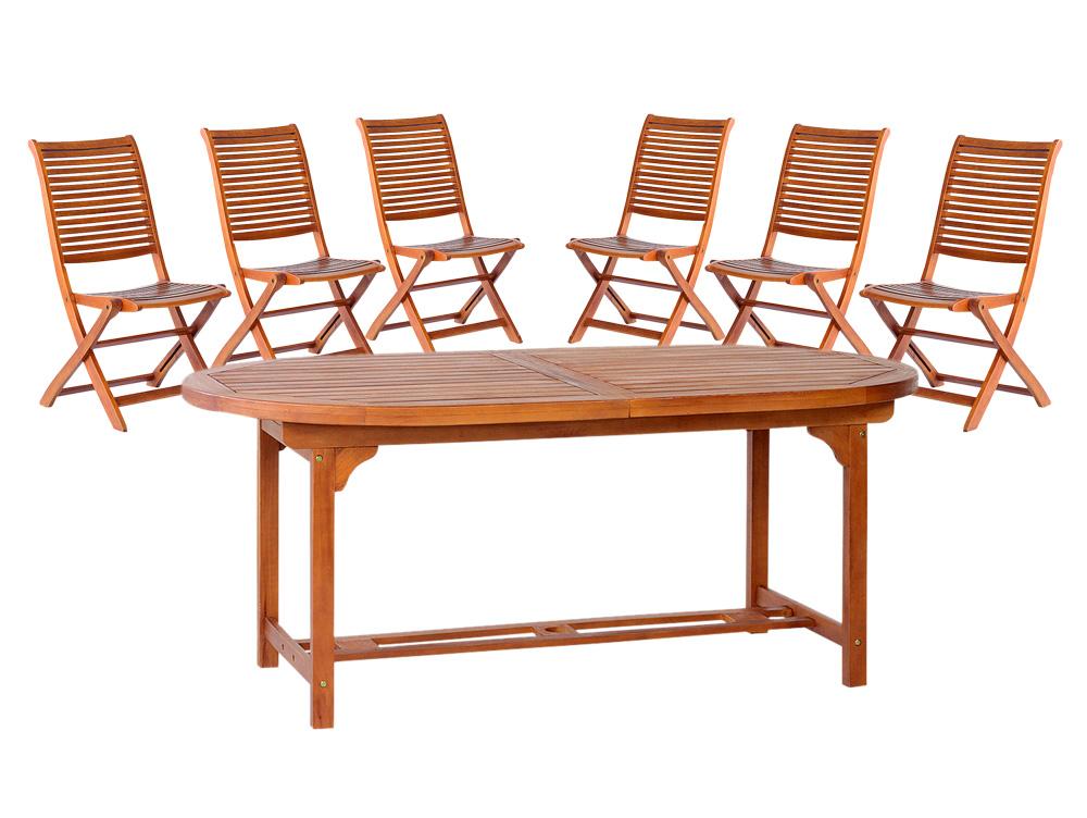Tavolo Con 6 Sedie In Legno.Tavolo Ovale Tondo 150 Allungabile 200 Legno 6 Sedie Giardino