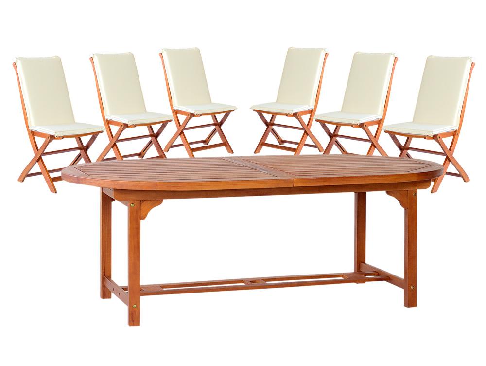 Tavolo ovale tondo 180 allungabile 260 legno 6 sedie for Tavolo tondo estensibile