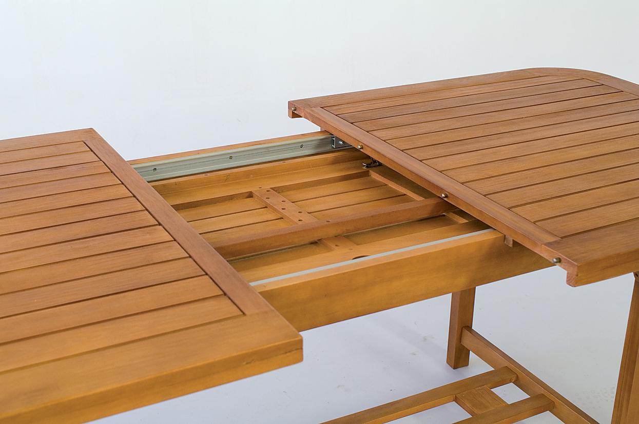 Tavolo legno set giardino allungabile cm 150 200 x 100 arredo esterno piscina ebay - Tavolo tondo estensibile ...